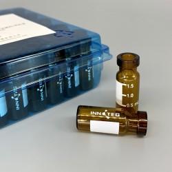 2mL 棕色钳口样品瓶/优级料/带刻度书写标签,11.6* 32mm,100个/盒