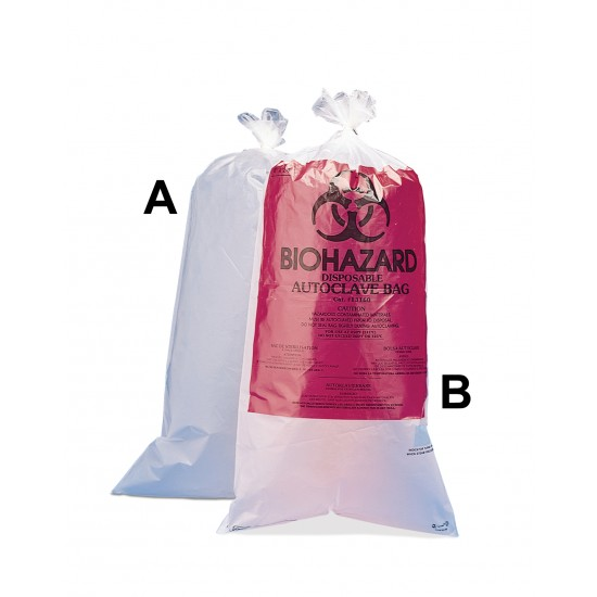 Bel-Art Clear Biohazard Disposal Bags without Warning Label; 1.5 mil Thick, 1-3 Gallon Capacity, Polypropylene (Pack of 100)