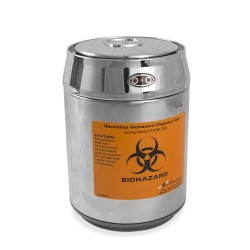 Bel-Art Benchtop Biohazard Disposal Can with Motion Sensor Lid; 1.5L Capacity, Stainless Steel