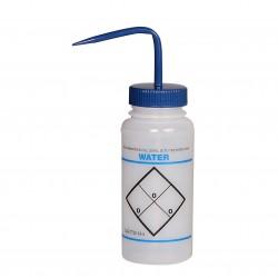 Bel-Art Safety-Labeled 2-Color Water Wide-Mouth Wash Bottles; 500ml (16oz), Polyethylene w/Blue Polypropylene Cap (Pack of 6)
