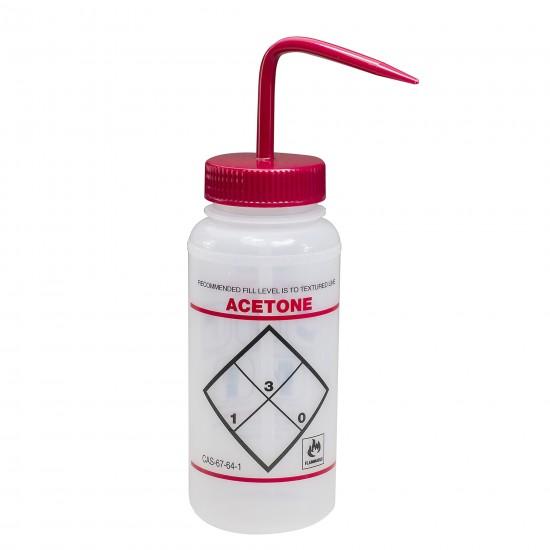 Bel-Art Safety-Labeled 2-Color Acetone Wide-Mouth Wash Bottles; 500ml (16oz), Polyethylene w/Red Polypropylene Cap (Pack of 6)