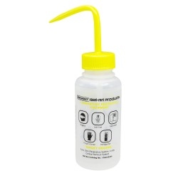 Bel-Art Safety-Labeled 2-Color Isopropanol Wide-Mouth Wash Bottles; 500ml (16oz), Polyethylene w/Yellow Polypropylene Cap (Pack of 6)