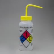 Bel-Art GHS Labeled Safety-Vented Dichloromethane Wash Bottles; 500ml (16oz), Polyethylene w/Yellow Polypropylene Cap (Pack of 4)