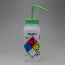 Bel-Art GHS Labeled Safety-Vented Methanol Wash Bottles; 500ml (16oz), Polyethylene w/Green Polypropylene Cap (Pack of 4)