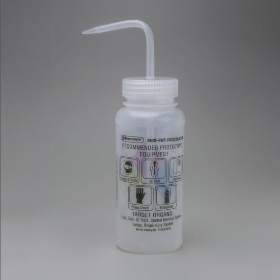 Bel-Art GHS Labeled Safety-Vented Ethanol Wash Bottles; 500ml (16oz), Polyethylene w/Natural Polypropylene Cap (Pack of 4)