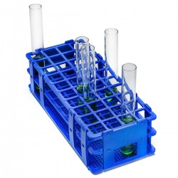 Bel-Art No-Wire Test Tube Rack; For 16-20mm Tubes, 40 Places, Blue