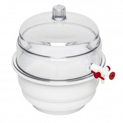 "Bel-Art ""SPACE SAVER"" Polycarbonate Vacuum Desiccator with White Polypropylene Bottom; 0.20 cu. ft."