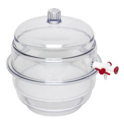 "Bel-Art ""SPACE SAVER"" Polycarbonate Vacuum Desiccator with Clear Polycarbonate Bottom; 0.20 cu. ft."
