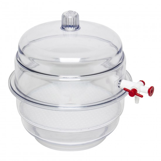 """Bel-Art """"SPACE SAVER"""" Polycarbonate Vacuum Desiccator with Clear Polycarbonate Bottom; 0.20 cu. ft."""