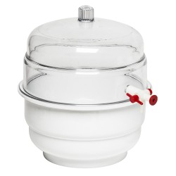 "Bel-Art ""SPACE SAVER"" Polycarbonate Vacuum Desiccator with White Polypropylene Bottom; 0.31 cu. ft."