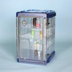 Bel-Art Secador Clear 4.0 Vertical Desiccator Cabinet with Blue End-Caps; 1.9 cu. ft.