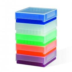 Bel-Art 81-Place Plastic Freezer Storage Boxes; Natural (Pack of 5)
