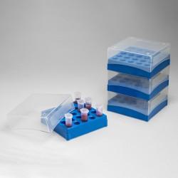 Bel-Art Polypropylene Freezer Box; For 5ml/13-16mm Conical Centrifuge Tubes, 25 Places (Pack of 4)
