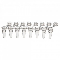 PurePlus® 0.1 mL 8-Well Low Profile PCR Tube Strips with Individually Attached Clear Flat Caps, in Bags